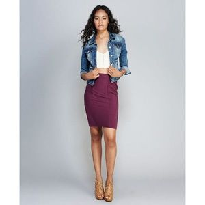 "CONTEMPO TEXTURED,PLUM,PENCIL SKIRT,SIZE ""L"""